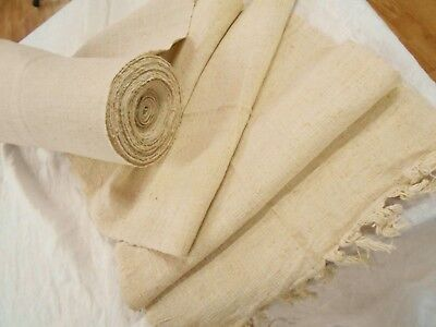 MINT Vtg Antique 1880 CREAM HEMP LINEN GRAIN BAG fabric Feed Sack 6 YD No Stripe