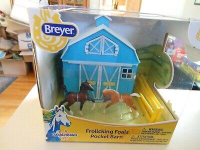Breyer HORSE #5932 Stablemates Frolicking Foals Pocket Barn PLASTIC FIGURINES