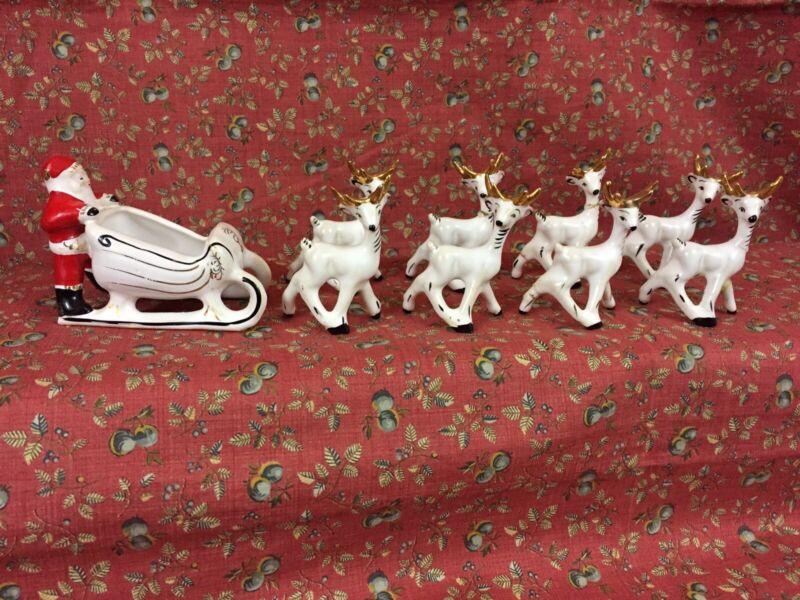 "VTG Ceramic Santa & Sleigh & 8 Reindeer Tiny 2"" Christmas Candy Holder Japan"