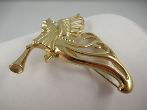 Signed Givenchy Large Gold Tone Angel Brooch, Pin