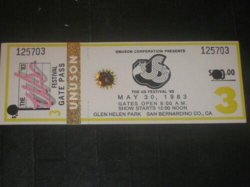 1983 US FESTIVAL CONCERT TICKET STUB**ROCK DAY**DAVID BOWIE**U2**PRETENDERS*RARE