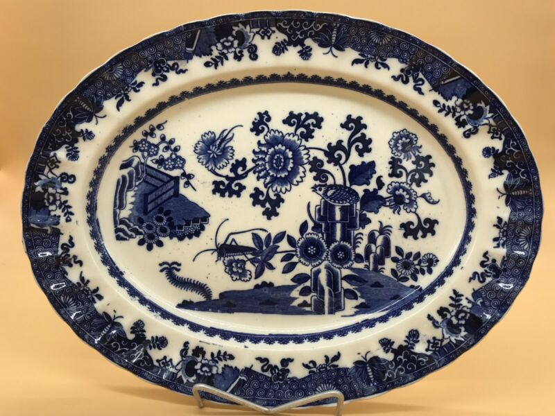 Copeland Spode Blue & White Tray 1890 Bird Insect