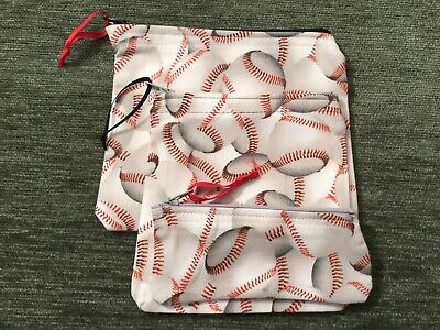 - Set Of 3 Handmade Zipper Pouch Sports Baseball Fabric Travel Coin Catchall Bags