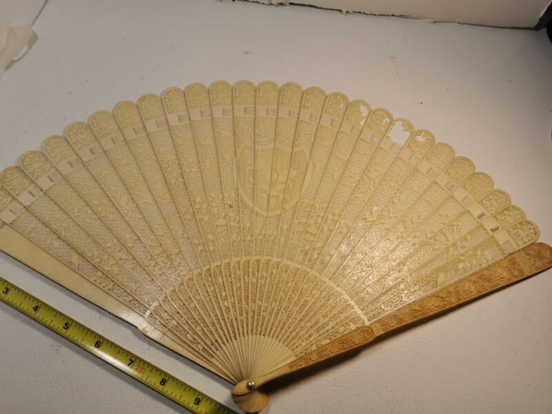 Antique Chinese Carved  Hand Silk Fan