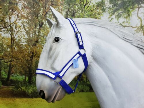 American Made draft horse halter BLUE with WHITE overlay fits FULL size drafts