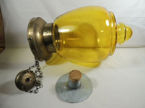 Hanging Apothecary Jar Show Globe Brass and Yellow Glass