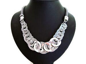 Stunning Chunky Unusual Silver Hoop Rings Statement Necklace LaGeNLooK JeWeLleRy