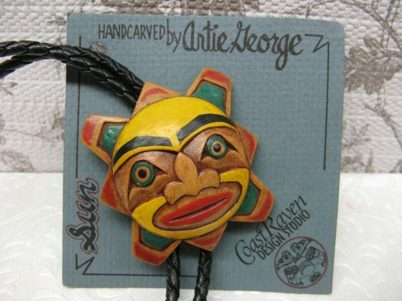 Artie George Bolo Tie Miniature Mask Sun Handcarved Wood Coast Salish New Card