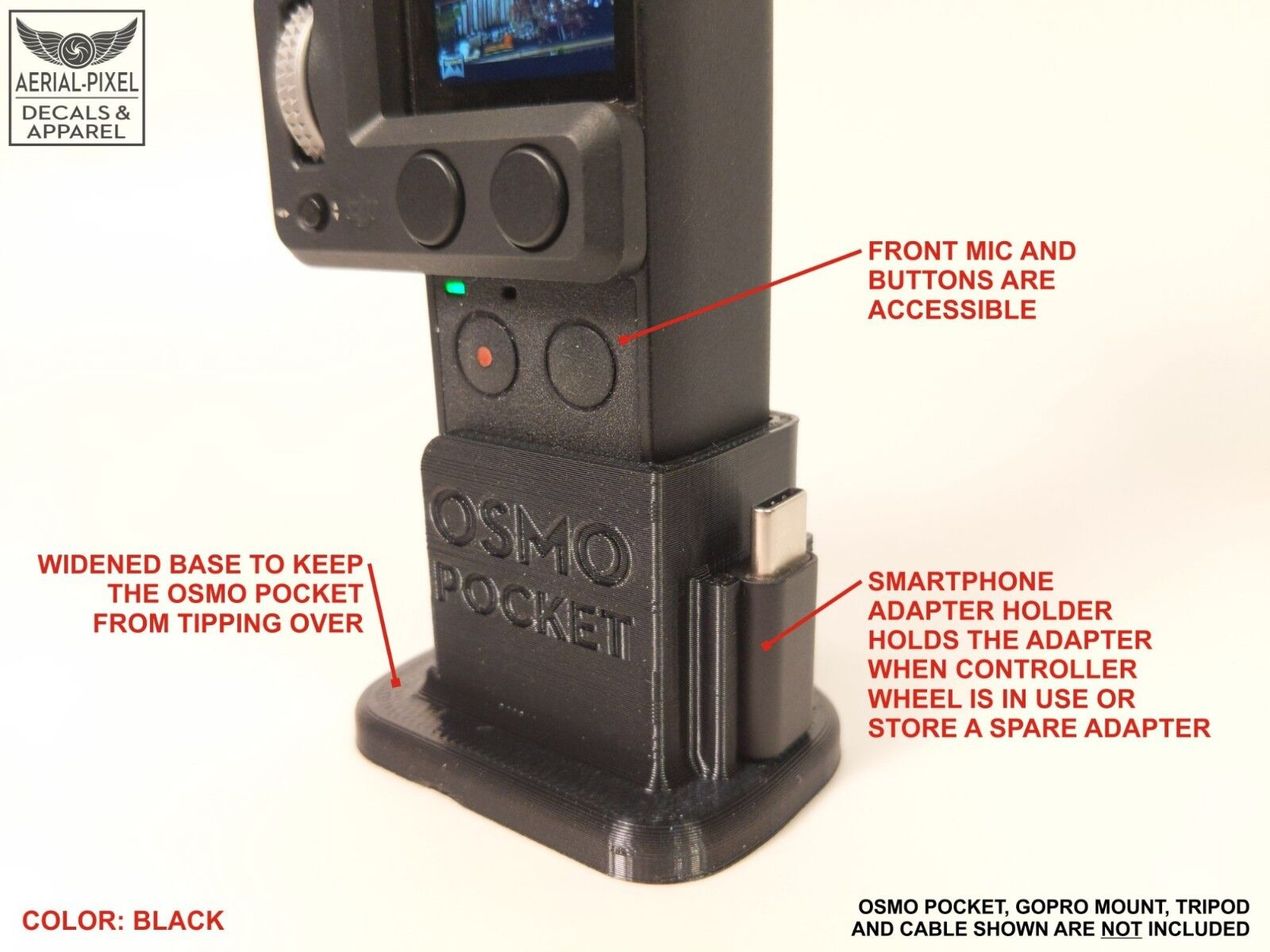 DJI OSMO Pocket Tripod + GoPro Adapter Mount with Base Flex Rubber 3D Print V2.3