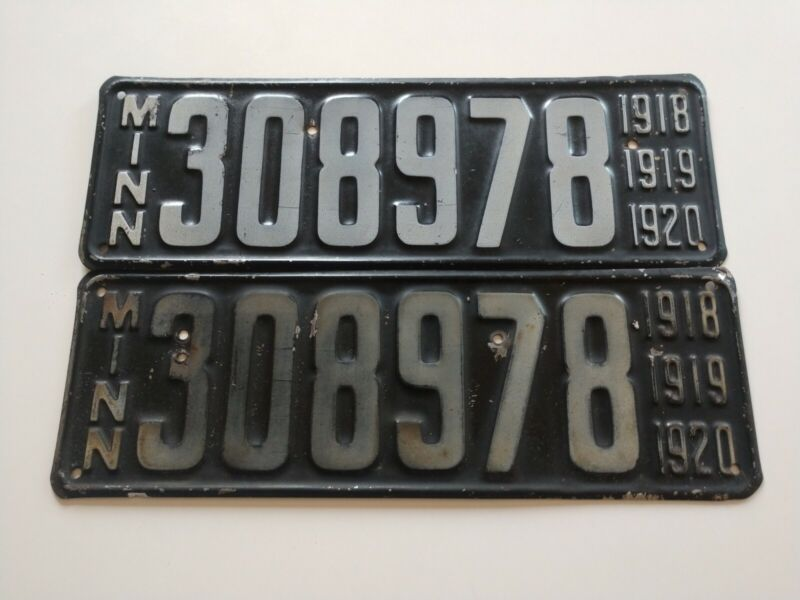 ***AWESOME*** Set of Vintage 1918 1919 1920 Minnesota MN License Plate Pair Two