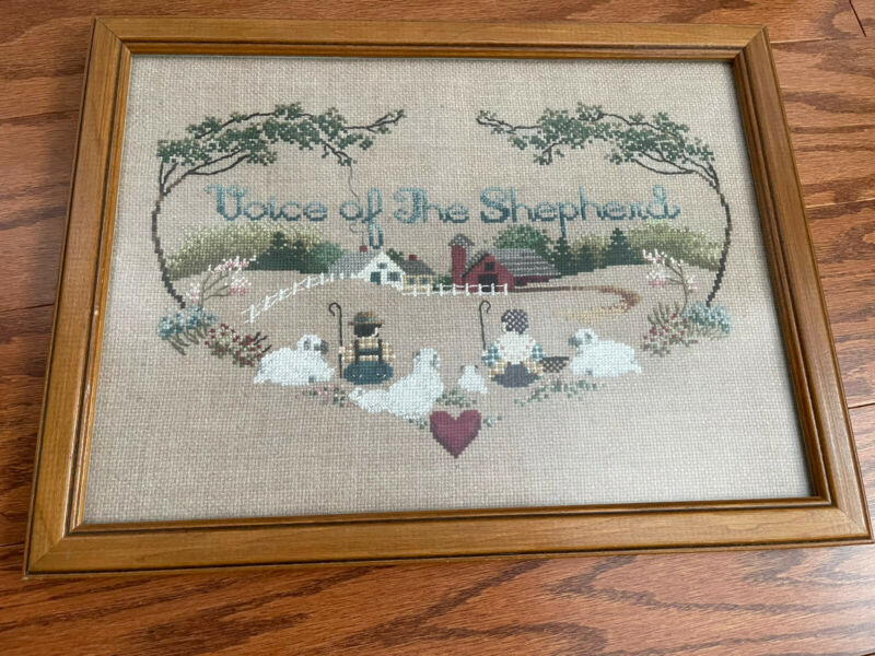 """Vintage FINISHED Hand Made Cross Stitch Framed """"VOICE OF THE SHEPHERD"""" EUC"""