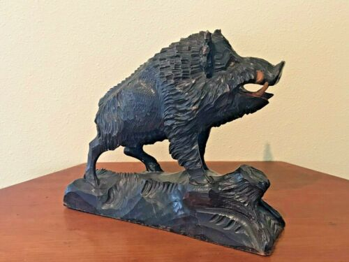 Black Forest Wild Boar Hand Carved Wood Vintage Antique Cira 1900 Outstanding