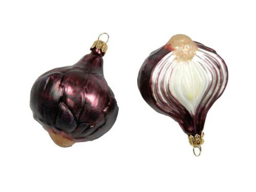 Red Onion Half Garden Vegetable Glass Christmas Ornament Poland 220044
