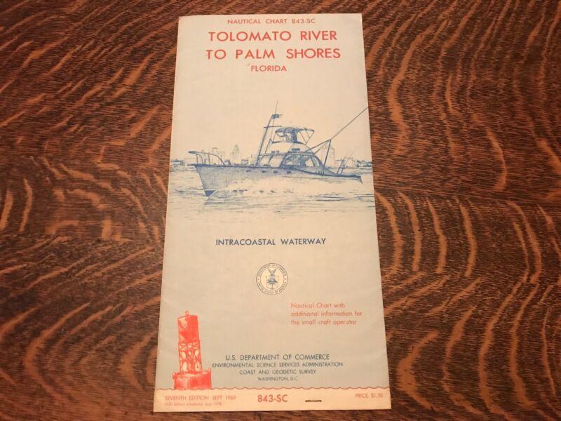 1969 Nautical Chart Of Tolomato River To Palm Shores Florida
