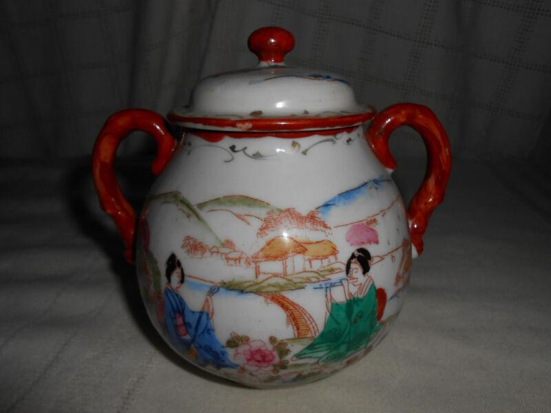 Japanese porcelain  tea caddy, w/Geisha design lovely!