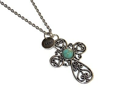Mom Southwest Turquoise Cross Religious Necklace 20 Inch Stainless Steel Chain Aquamarine Religious Cross