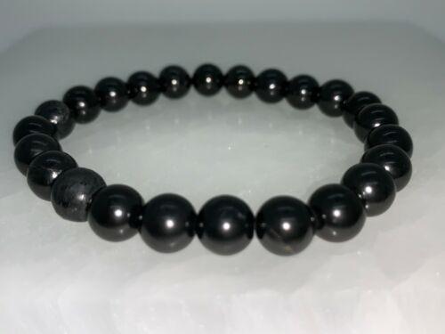 8mm Shungite Bracelet, Shungite Beads, Stretch Bracelet,Radiation EMF Protection