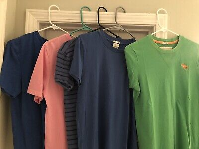NICE LOT OF 5 ABERCROMBIE & FITCH AMERICAN EAGLE POLO SHORT SLEEVE T SHIRTS MENS