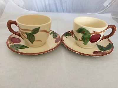 (Franciscan Apple 2 Cups and Saucers Made in USA - OVEN SAFE 1953-1958 VINTAGE)