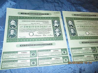 136 : 2 x Wertpapier / historisch , I.G. FARBEN , März 1953 , Frankfurt , 94+95