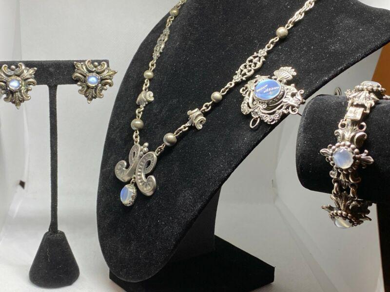 Vintage Art Nouveau Signed Cini Sterling Silver and Blue Moonstone Grand Parure
