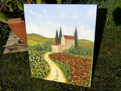 "ORIGINAL Ölgemälde Toskana ""Campagna Rustico"" Haus Landschaft Italien *60 x 50"
