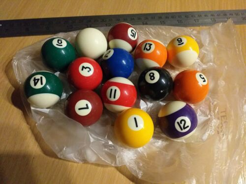 3.75cm Replacement/spare Pool Balls. Pre-owned/used. 14 balls only.