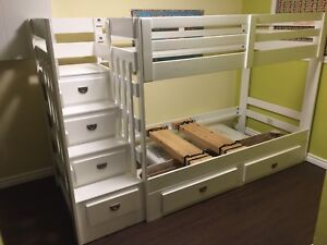 White bunk bed solid wood