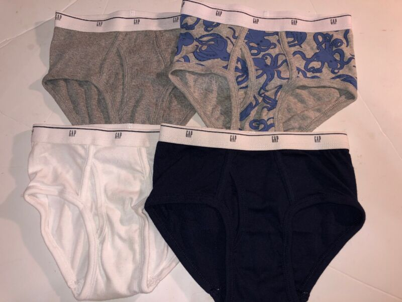 Gap Kids 4 Briefs Assorted 100% Cotton  Size S Small (6-7) New