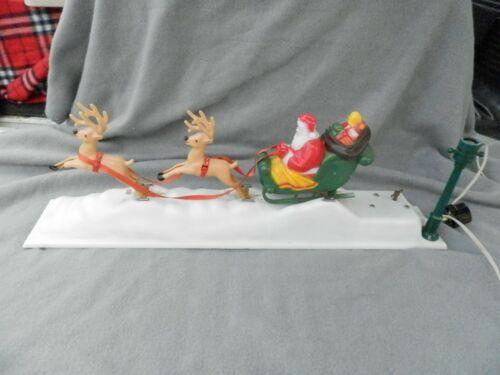 Vintage Plastic Musical Animated Santa Sleigh & Reindeers