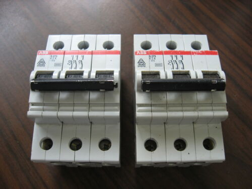 Lot of 2 ABB S273 K2A Circuit Breakers (3 Pole, 2 Amp) S273-K2A