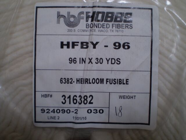 "HOBBS Fusible Cotton Wadding / Batting - 96"" Wide"