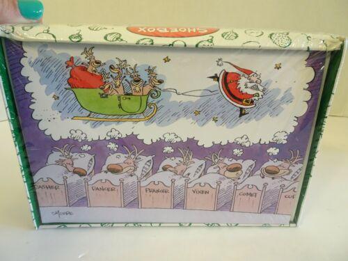 HALLMARK Shoebox Christmas Cards NEW Santa Reindeer 18 Cards Envelopes Funny