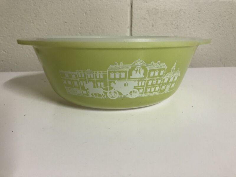 Vintage Agee Pyrex Green Colonial Horse Cart Pattern Cr-212 Casserole Dish 1964