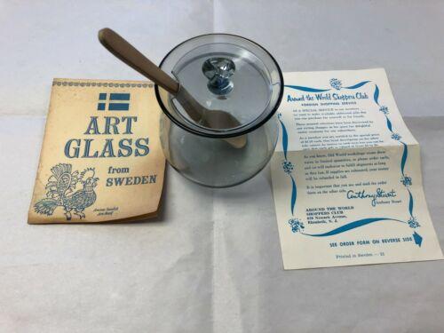 Vintage Bjorkshult Art Glass (Jam Jar) Made in Sweden with Original Paper