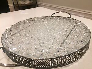 Art deco vintage glass tray w/nickel silver round frame / silverware South Yarra Stonnington Area Preview