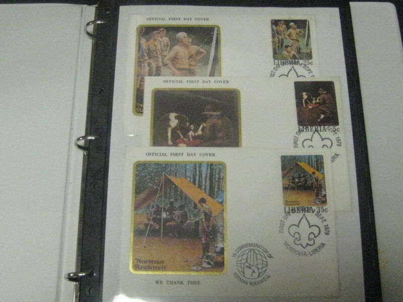 Scouts on Stamps Collection--Liberia Rockwell, Jamboree, International cachets