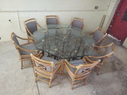 McGuire Bamboo Rattan Dining Table w/ 8 Chairs, Custom Covered, Over $16,000 New