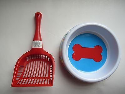 New DOG FOOD/WATER BOWL and Poop Scoop SET -- Waste Pooper Scooper Tool Clean--