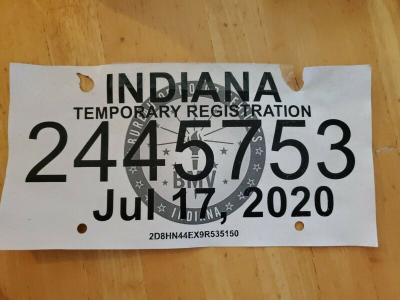 Indiana 2020 TEMPORARY REGISTRATION License Plate