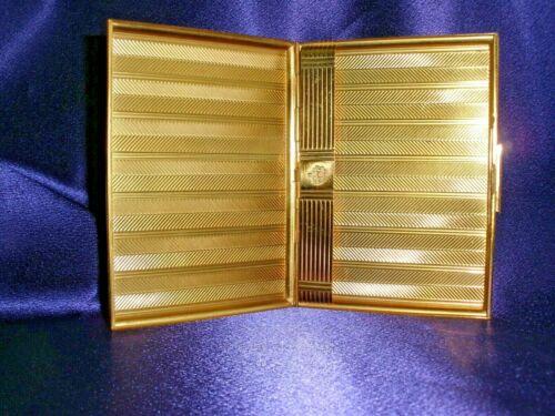 Vintage Evans Cigarette Box Gold Color Herringbone Pattern