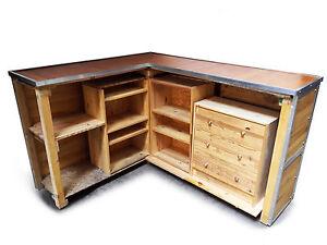 Bancone in legno ad angolo x negozi con ripiani cassettiera tavolo da lavoro ebay - Tavolo da lavoro in legno ...
