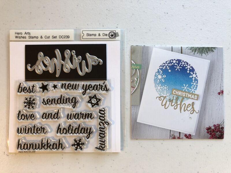 "Hero Arts ""WISHES STAMP & CUT SET"" DC239 Stamp & Die Set Holiday Winter New Year"