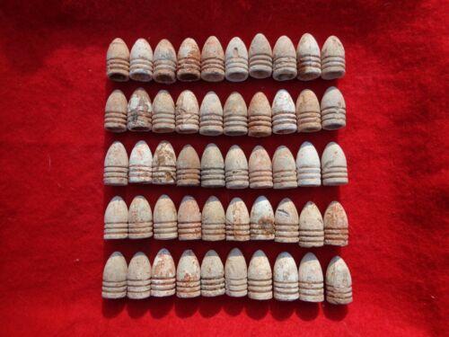 50 Civil War Dropped (non-Fired) 3-Ring Bullets Atlanta, Ga. Red Soil #7