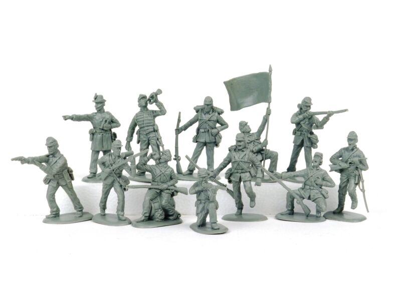 American Civil War Union Infantry Plastic Toy Soldiers 54mm Lot Of Twelve