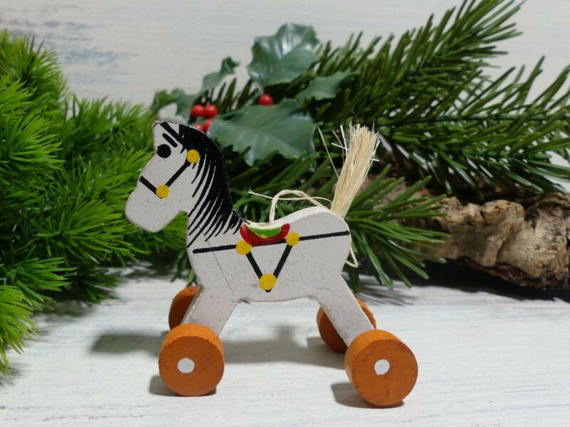 Vintage Kurt Adler Christmas Tree Ornament Wooden Horse Rolling Wheels Pull Toy