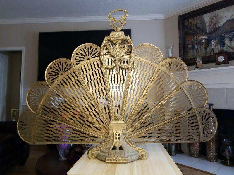 Vintage Brass Fireplace Folding Fan Screen Peacock Style Japan Venus Cameo