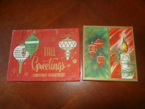 2 Boxes Vintage Antique Tall French Folder Christmas Cards New Old Stock NOS