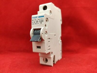 HAGER NC110 10A 10AMP C TYPE C10 SINGLE POLE SP 1P MCB FUSE SWITCH, used for sale  Aldershot