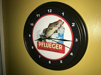 Pflueger Fishing Lures Tackle Bait Shop Advertising Man Cave Wall Clock Sign